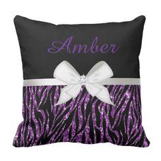 Purple Glitter Zebra Print and Ribbon Throw Pillow