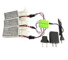 3 Pcs 3.7v 1000mah Battery and 1 to 3 USB Charger for Udi U842 U842-1 U818S Rc Quadcopter Drone Black Spare Parts Batteries Set #Affiliate