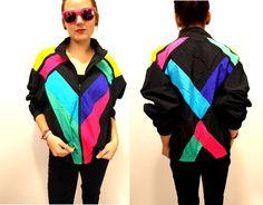 Vintage 80s 90s black and Neon nylon Windbreaker unisex Jacket SML. $48.00, via Etsy.