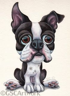 boston terrier cartoon animal pet caricature acrylic painting
