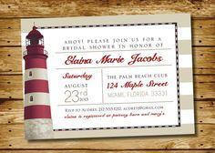 Nautical Lighthouse Bridal shower Invitation