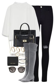 """""""Untitled #3412"""" by lily-tubman ❤ liked on Polyvore featuring Frame Denim, Zara, Diane Von Furstenberg, Yves Saint Laurent, Gianvito Rossi, ASOS, Burberry, Minor Obsessions and Moncler"""