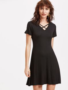 Black V Neck Criss Cross Tee Dress