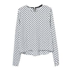 SheIn(sheinside) White Long Sleeve Polka Dot Crop Chiffon Blouse ($12) ❤ liked on Polyvore featuring tops, blouses, long sleeved, white, embellished collar blouse, embellished crop top, button blouse, white long sleeve top and collar blouse