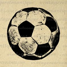 Digital Image Soccer Ball Graphic Sports by VintageRetroAntique