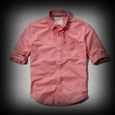 アバクロ メンズ シャツ Abercrombie&Fitch Boundary Peak Shirt シャツ★シンプル差のなかでも!ネック内側や裏地などボタンに至るまで洗練されたこだわったデザインになっています。 ★袖をロールアップしてルーズぽく・・・?組合せにより色んな着こなしができてお洒落!