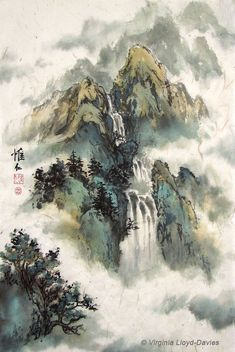 Chinese waterfall and mountain landscapes painted by internationally renowned… Asian Landscape, Chinese Landscape Painting, Japanese Landscape, Chinese Painting Flowers, Beautiful Landscape Paintings, Landscape Drawings, Landscape Art, Creative Landscape, Sunset Landscape