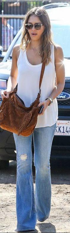 Who made Jessica Alba's white tank top, brown suede handbag, sunglasses, and watch