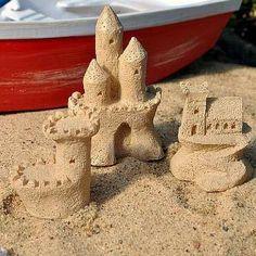 Sandcastle Sculptures. www.teeliesfairygarden.com . . . Give your fairies ideas on what sandcastles they should make with these sandcastle sculptures as their guide. #fairybeach