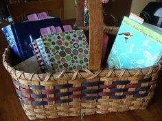 A quiet time basket. so smart! Good idea for kids too!