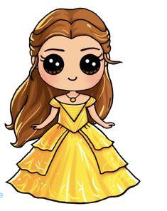 Kawaii Girl Drawings, Cute Animal Drawings Kawaii, Cute Cartoon Drawings, Cute Disney Drawings, Cute Easy Drawings, Disney Princess Drawings, Cute Girl Drawing, Art Drawings, Kawaii Disney