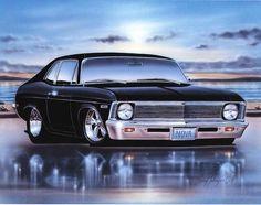 1968 69 Chevy Nova 2 Door Coupe Classic Car Art Print Poster - My old classic car collection Bmw Classic Cars, Classic Trucks, Chevy Classic, New Sports Cars, Sport Cars, Chevy Nova, Mustang Cars, Car Travel, Chevy Trucks