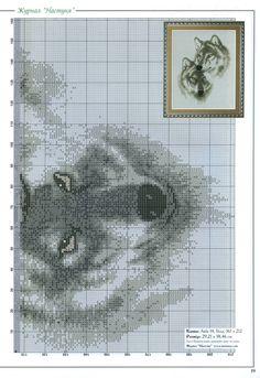Black & white wolf cross stitch 2