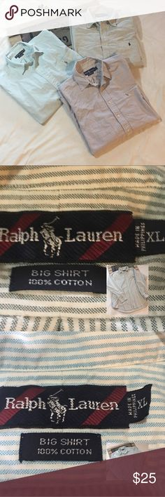 Ralph Lauren Set of 3 button shirts for $25 2 Long sleeved and size XL big shirt 100% cotton and one 17 1/2-34 100% cotton with a little discoloration from being stored. (See pictures) Ralph Lauren Shirts Casual Button Down Shirts