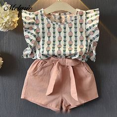 Melario Clothing Sets 2018 Children Clothing Sleeveless Bow T-shirtPrint Pants for Kids Clothing Sets Baby Girl suit - Baby Girl Dress - Ideas of Baby Girl Dress Cheap Girls Clothes, Dresses Kids Girl, Cute Baby Clothes, Clothes Sale, Baby Dresses, Dress Girl, Baby Girl Clothes Summer, Baby Girl Bows, Baby Boy Outfits
