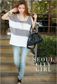 Fashion White Cool Cotton T-Shirt Korean Style