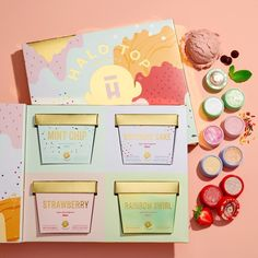 Halo Top x ColourPop: The first ever scented eyeshadow collaboration inspired by some of Halo Top's most popular flavors: Mint Chip, Birthday Cake, Strawberry and Rainbow Swirl. Colour Pop, Colourpop Cosmetics, Makeup Cosmetics, Cute Makeup, Beauty Makeup, Halo Top Creamery, National Ice Cream Month, Ice Cream Packaging, Lip Gloss