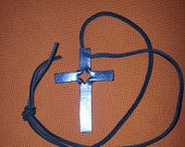 HAND FORGED OPEN/CELTIC CROSS WITH LEATHER LANYARD