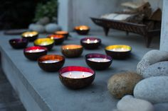 #cocoshinecandles lighting up the evening. Handmade candles poured by women artisans, glowing beautifully in real coconut shell bowls from Vietnam.#lightbeautypurpose #fairtrade #handmade