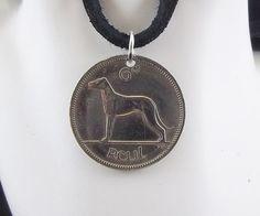 Dog Coin Necklace Irish 6 Pingin Coin by AutumnWindsJewelry
