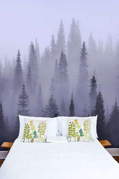 Skog i tåke tapet