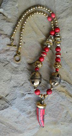 Collar de cuerno cuerno de color turquesa collar por LKArtChic