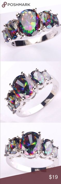 Mystic Topaz Sterling Silver Ring Beautiful Mystic Topaz Gemstones set in 925 Sterling Silver Size 7 Jewelry Rings