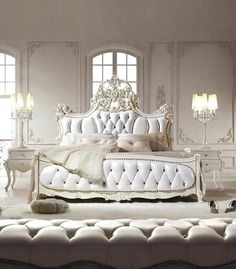 White Luxury master bedroom. White tufted headboard.