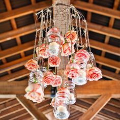 Mason Jar & Hanging Flower Chandelier #masonjars #masonjarcraftslove