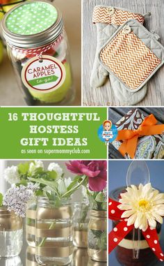 Have you been invited to a dinner party? These thoughtful hostess gift ideas will say thank you much better than a bottle of wine. These make great Christmas or Mother's Day gifts as well! Creative Birthday Ideas, Birthday Ideas For Her, Creative Gifts, Craft Gifts, Diy Gifts, Holiday Gifts, Christmas Gifts, Christmas Decor, Host Gifts
