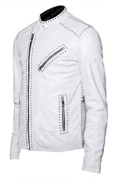 e386605d7 58 Best white leather jacket images in 2019 | Leather jackets, White ...