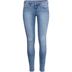 H&M Super Skinny Low Jeans ($26) ❤ liked on Polyvore featuring jeans, pants, bottoms, h&m, denim, light denim blue, 5 pocket jeans, super skinny super low jeans, low jeans and slim leg jeans