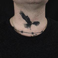 Eagle tattoo on the neck. Tattoo artist: Kane Trubenbacher