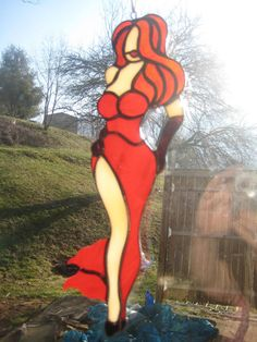 Stained+Glass+Pin+up+girl+'+Jessica+Rabbit+'+by+pinupartglass,+$75.00