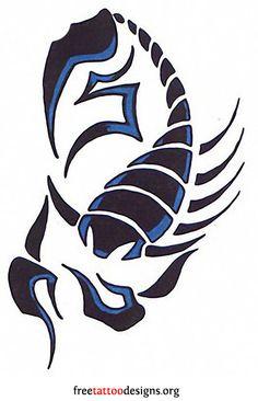 Blue tribal scorpion tattoo design