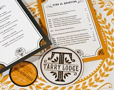 Tarry Lodge menu & identity
