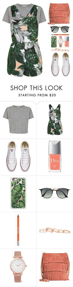 """Benita"" by vansousa ❤ liked on Polyvore featuring Topshop, Converse, Christian Dior, Casetify, Ray-Ban, Urban Decay, Kendra Scott, Larsson & Jennings and Burberry"