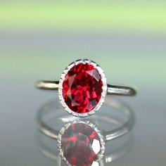 Raspberry Quartz Sterling Silver Ring Gemstone by louisagallery, $135.00