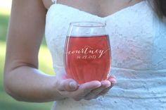 Personalized Bridesmaid Gifts Stemless Wine by UrbanFarmhouseTampa