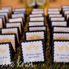 love bird escort cards with grass table Love Birds Wedding, Yellow Wedding, Dream Wedding, Wedding Place Cards, Wedding Paper, Wedding Stuff, Wedding Trends, Wedding Ideas, Wedding Inspiration