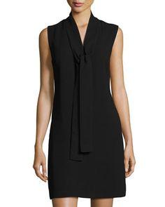 Sleeveless+Crepe+Tie-Neck+Dress,+Black+by+Sharagano/Zaralo+at+Neiman+Marcus+Last+Call.