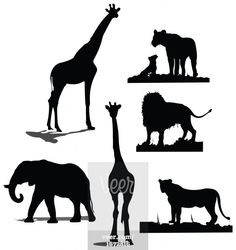 African animal silhouettes. Black and white silhouettes Stock Illustration
