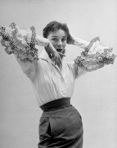 """""""The Bettina Blouse"""" - Hubert de Givenchy, 1952. Modeled by Bettina Graziani, photographed by Nat Farbman for LIFE magazine."""