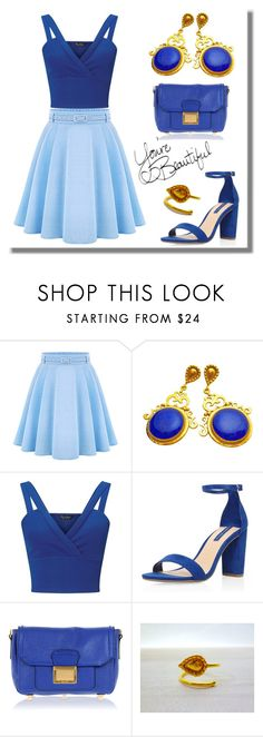 """""""Blue Outfit - Evangelos Earrings"""" by evanangel ❤ liked on Polyvore featuring WithChic, Miss Selfridge, Dorothy Perkins and Miu Miu"""