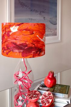 HER NAME IS RIO...Exotic and vibrant patterns and colours are very on trend for 2016 we adore this Sedum Detail in Orange lamp SMALL, 4 flex colour options by Anna Jacobs Art Stand B31