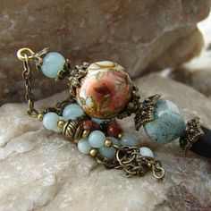 Hair Stick Copper Tensha Bead with Green Amazonite Gemstones and Antique Bronze - Darby