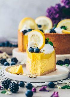Lemon Cheesecake Pie Pie Recipes, Dessert Recipes, Lemon Cheesecake, Lemon Curd, Healthy, Healthier Desserts, Food, Blackberries, Mint