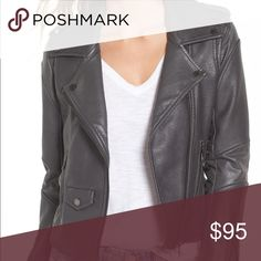 """BlankNyc 'Easy Rider' Faux Leather Moto Jacket Cut from deliciously soft pebbled faux leather, this slim-cut jacket adds instant edge to any look. Classic moto detailing from epaulets and snap-down lapels to glossy zip detailing and articulated shoulders and elbows in smooth faux leather contribute to the authentic feel of this wardrobe-staple style. 22 1/2"""" length (size Medium). Asymmetrical front-zip closure. Notched snap-down lapels. Long sleeves with zip cuffs. Side zip pockets; hip…"""