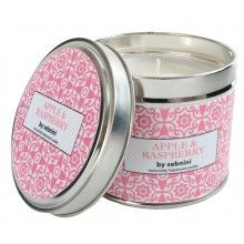 Sebnini Of England APPLE & RASPBERRY Large Luxury Fragranced Candle Tin