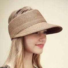 Verão Floppy chapéu de sol viseira de palha Chapéus de Praia Para As  Mulheres a041b25cf8d